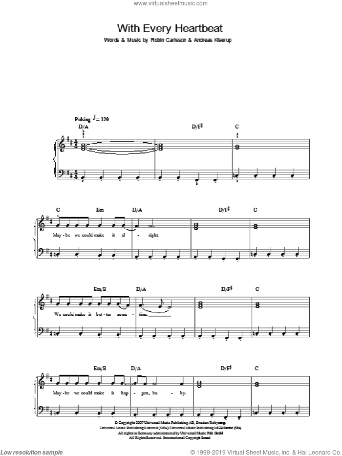 With Every Heartbeat sheet music for piano solo by Robyn, Andreas Kleerup and Robin Carlsson, easy skill level