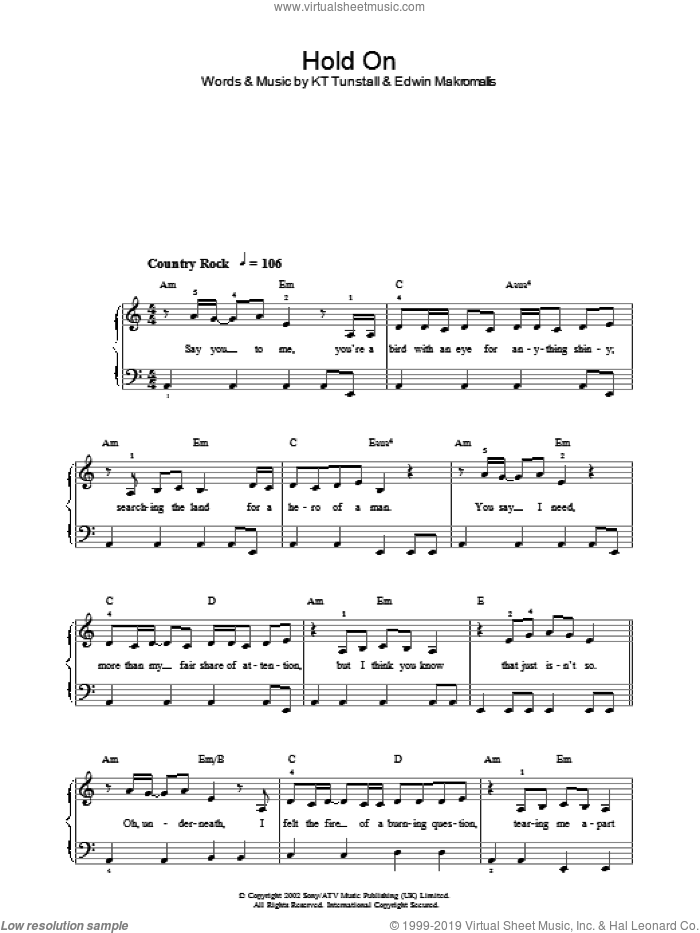 Hold On sheet music for piano solo by Edwin Makromallis and KT Tunstall. Score Image Preview.