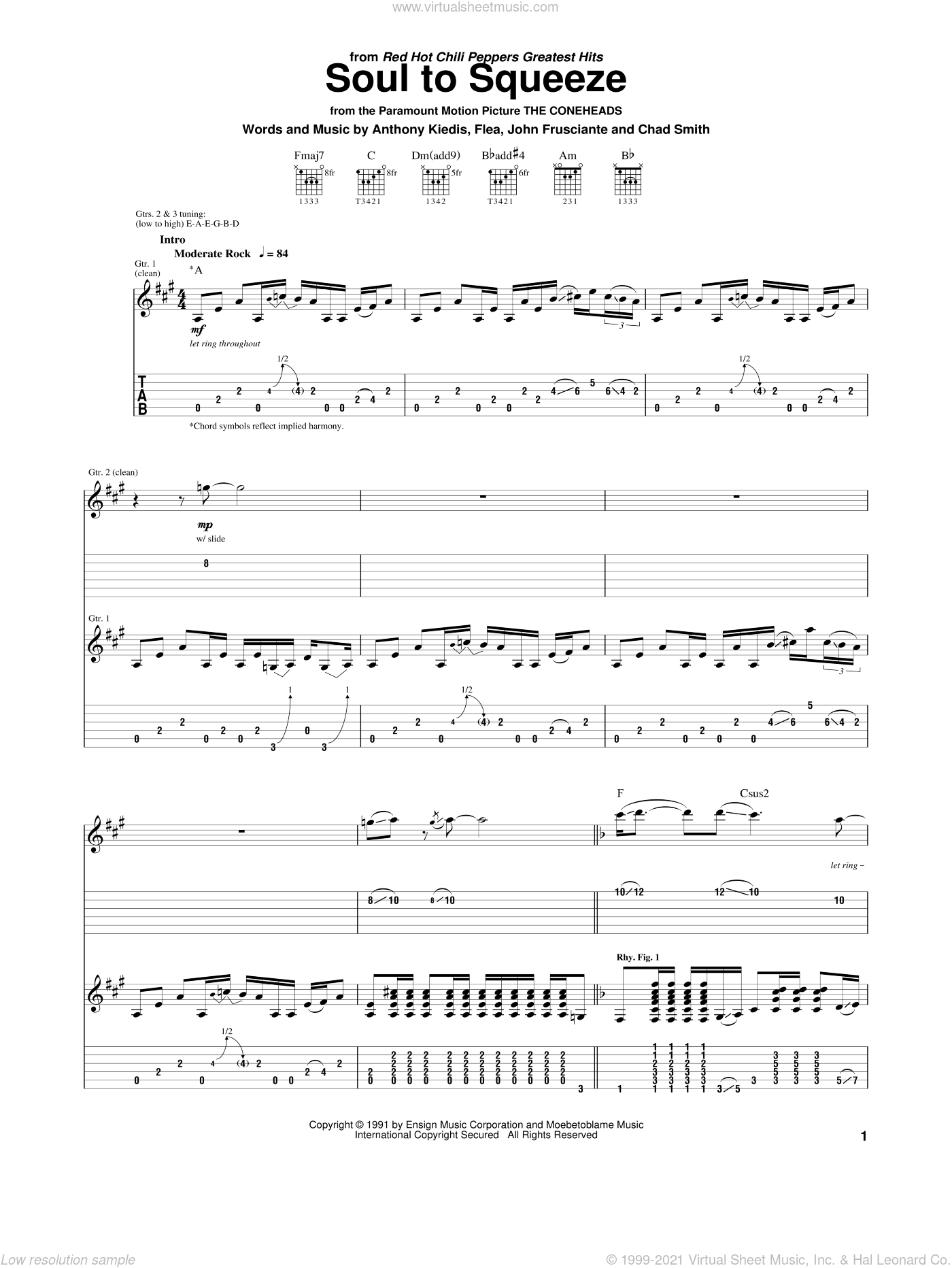 Soul To Squeeze sheet music for guitar (tablature) by Red Hot Chili Peppers, Anthony Kiedis, Flea and John Frusciante, intermediate skill level