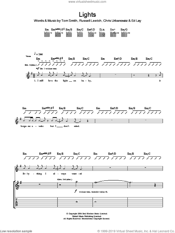 Lights sheet music for guitar (tablature) by Chris Urbanowicz