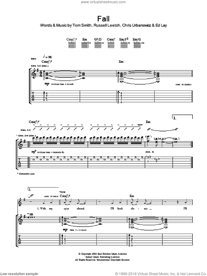 Fall sheet music for guitar (tablature) by Editors. Score Image Preview.
