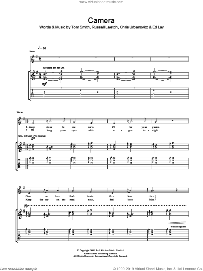 Camera sheet music for guitar (tablature) by Editors, Chris Urbanowicz, Ed Lay, Russell Leetch and Tom Smith, intermediate skill level