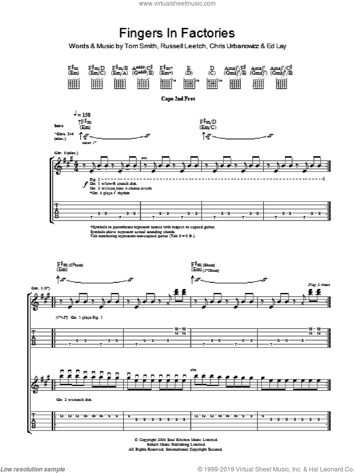 Fingers In The Factories sheet music for guitar (tablature) by Editors. Score Image Preview.