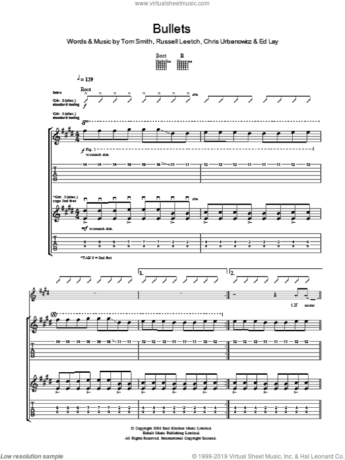 Bullets sheet music for guitar (tablature) by Editors. Score Image Preview.