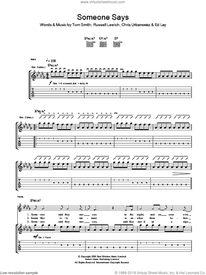 Someone Says sheet music for guitar (tablature) by Chris Urbanowicz and Tom Smith. Score Image Preview.