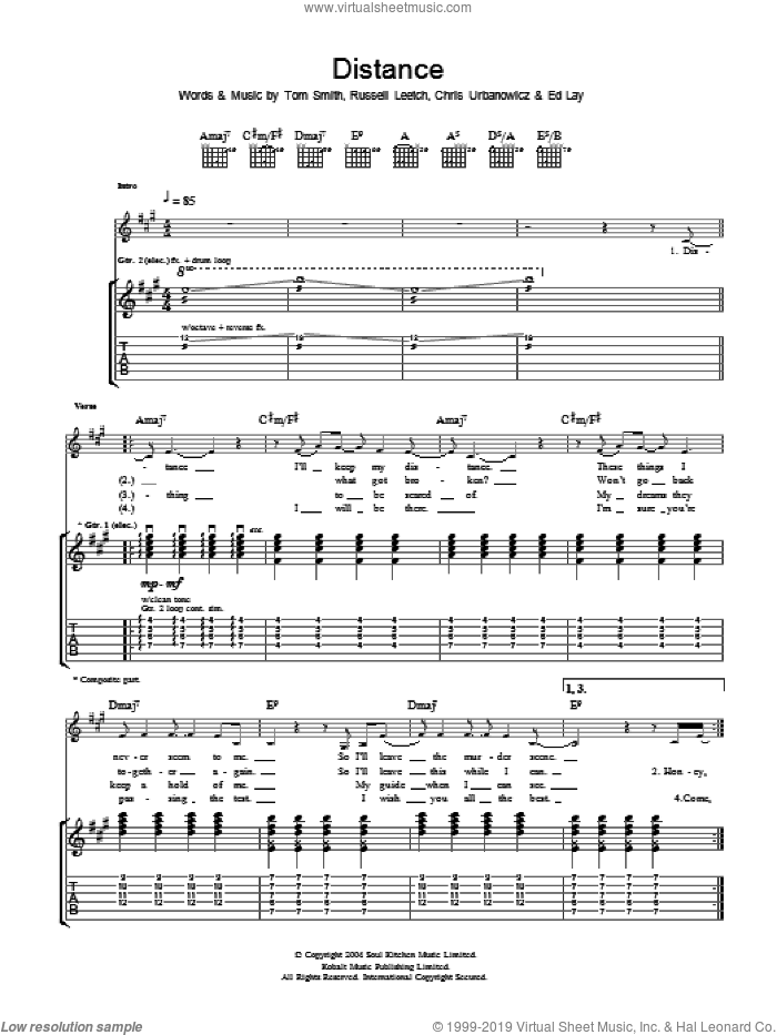 Distance sheet music for guitar (tablature) by Chris Urbanowicz and Tom Smith. Score Image Preview.