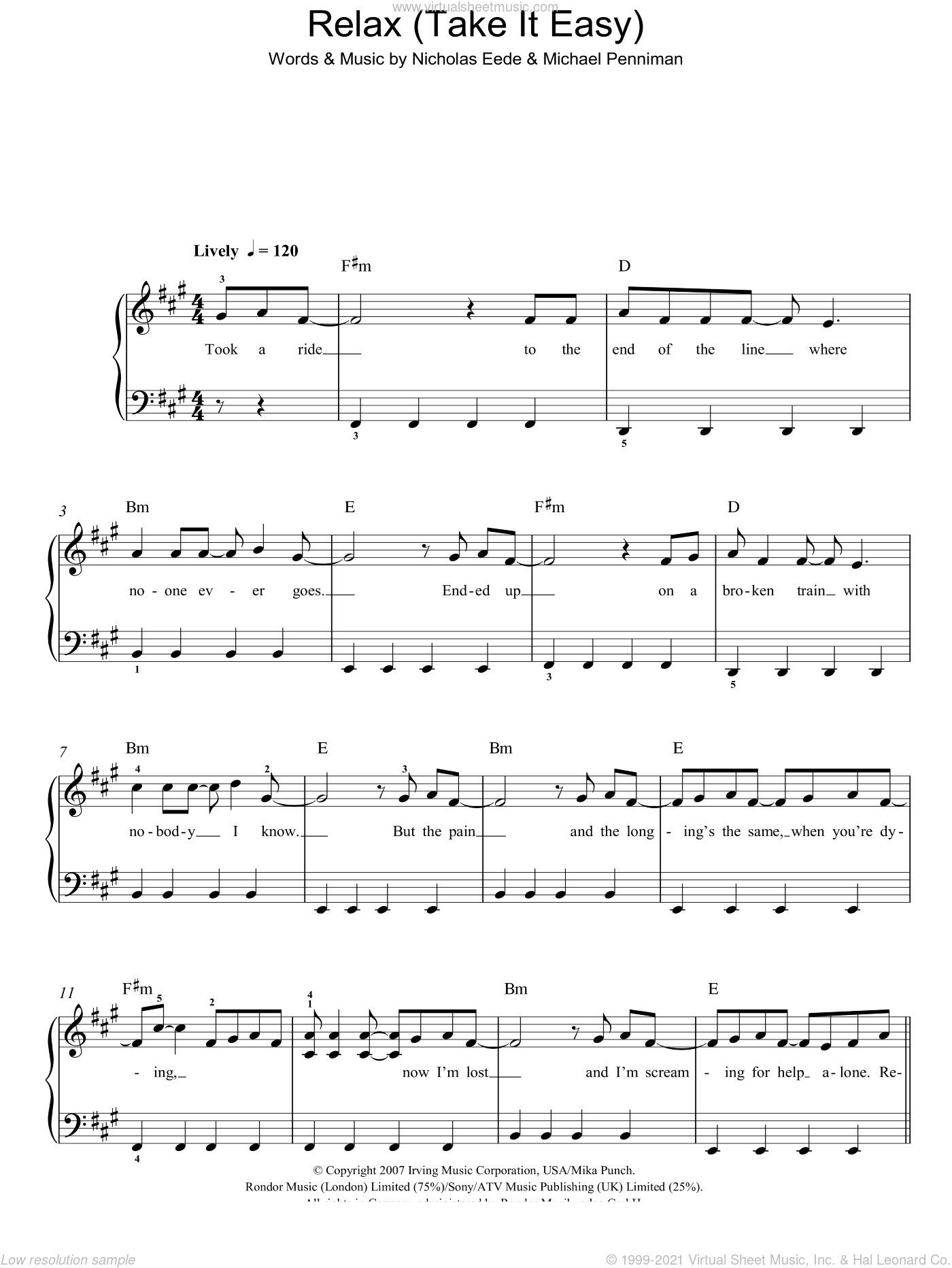Relax (Take It Easy) sheet music for piano solo by Mika, Michael Penniman and Nick van Eede, easy. Score Image Preview.