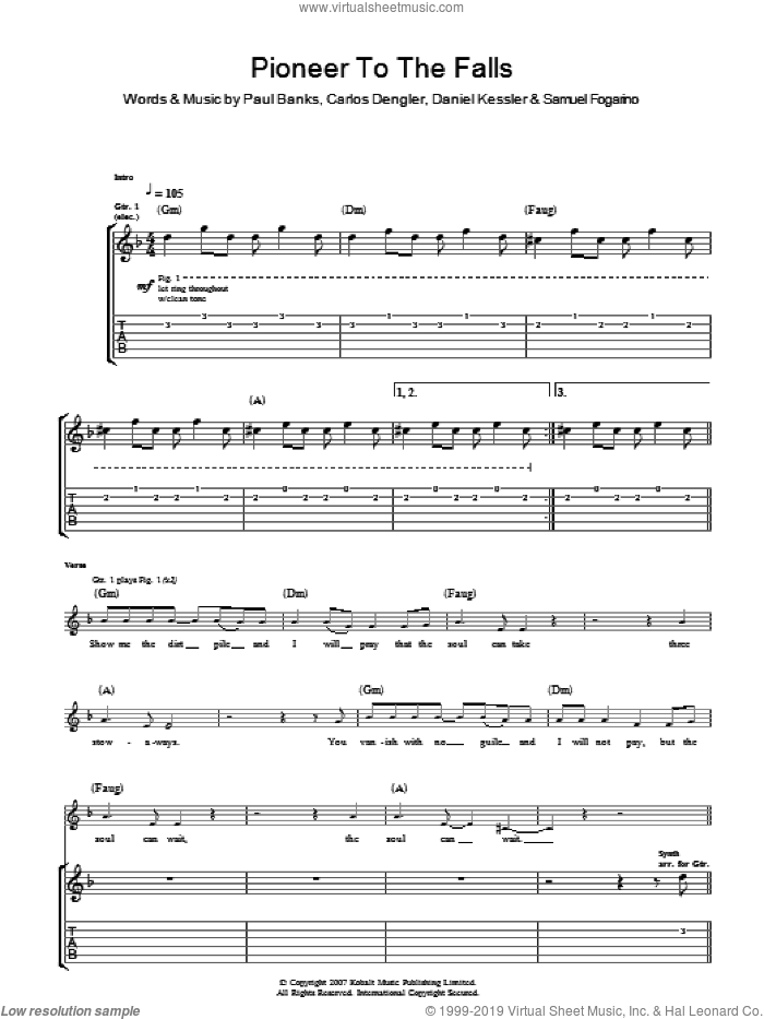 Pioneer To The Falls sheet music for guitar (tablature) by Carlos Dengler and Samuel Fogarino. Score Image Preview.