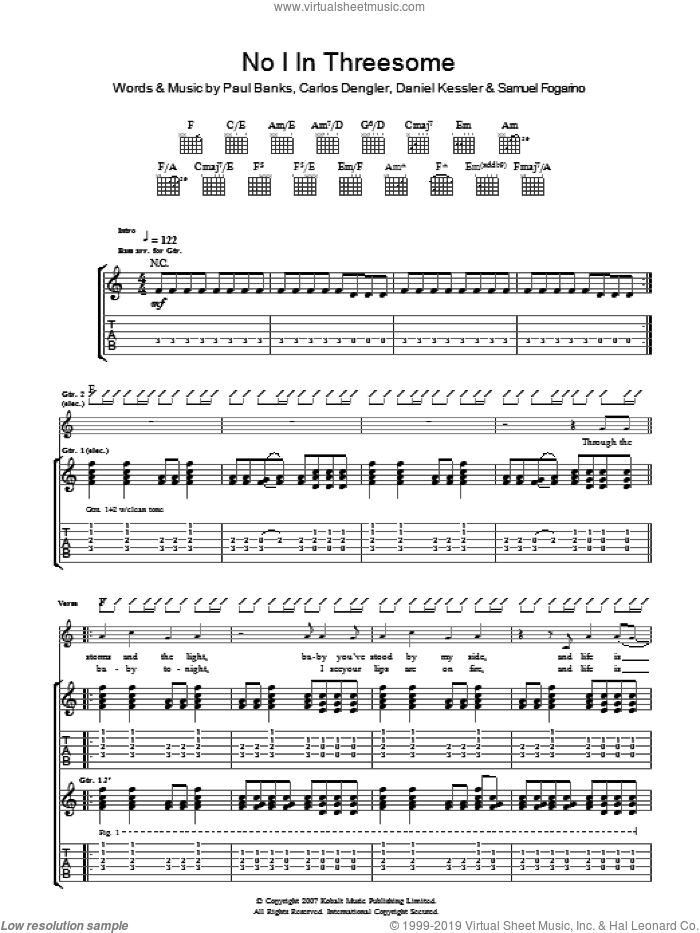 No I In Threesome sheet music for guitar (tablature) by Interpol, intermediate guitar (tablature). Score Image Preview.