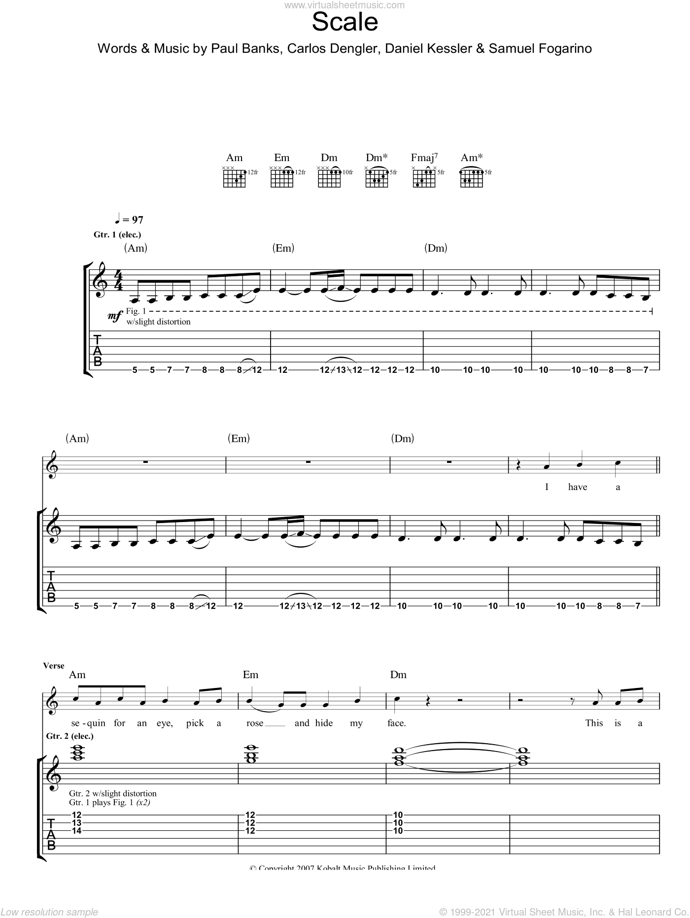 The Scale sheet music for guitar (tablature) by Carlos Dengler and Samuel Fogarino. Score Image Preview.