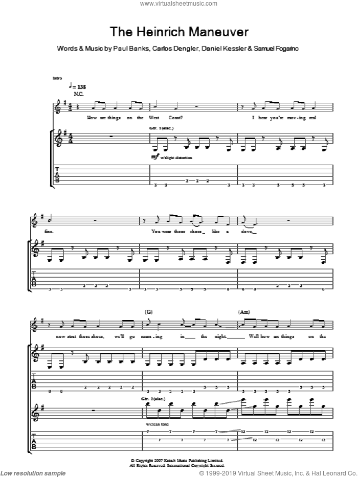 The Heinrich Maneuver sheet music for guitar (tablature) by Interpol, intermediate guitar (tablature). Score Image Preview.