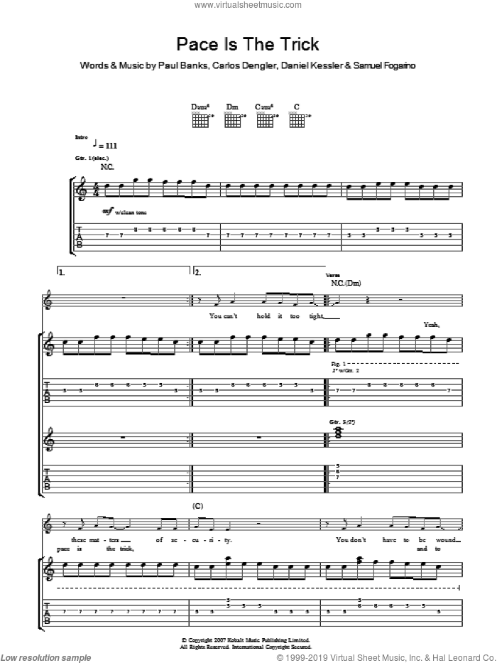 Pace Is The Trick sheet music for guitar (tablature) by Carlos Dengler and Samuel Fogarino