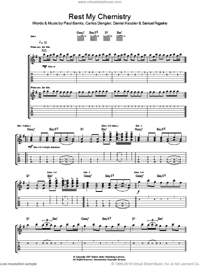 Rest My Chemistry sheet music for guitar (tablature) by Carlos Dengler and Samuel Fogarino. Score Image Preview.