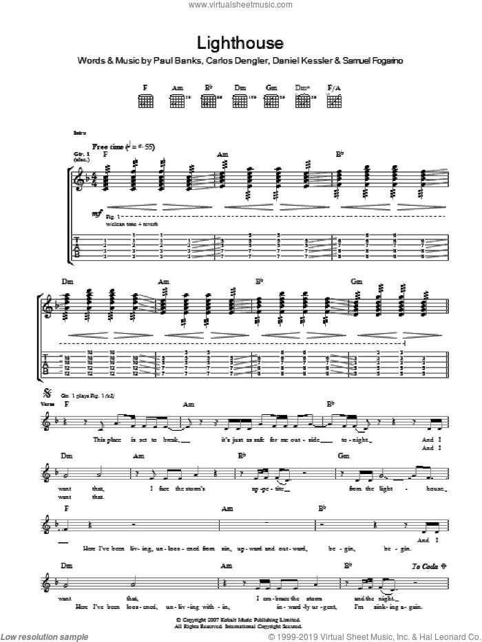 The Lighthouse sheet music for guitar (tablature) by Carlos Dengler and Samuel Fogarino. Score Image Preview.