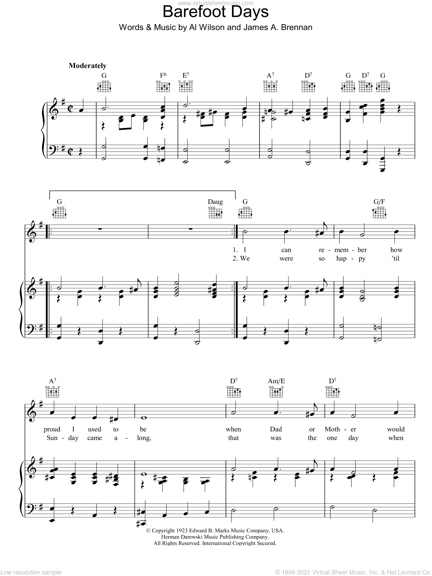 Barefoot Days sheet music for voice, piano or guitar by James Brennan. Score Image Preview.