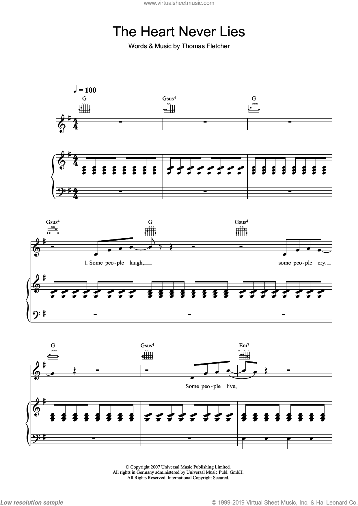 The Heart Never Lies sheet music for voice, piano or guitar by McFly and Thomas Fletcher, intermediate skill level