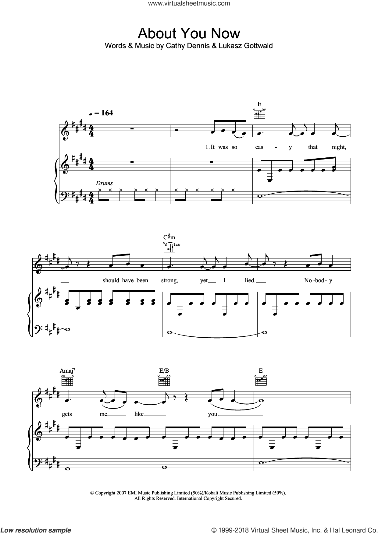 About You Now sheet music for voice, piano or guitar by Cathy Dennis