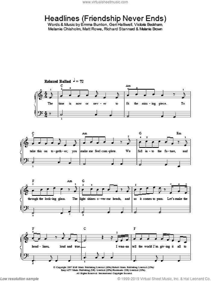Headlines (Friendship Never Ends) sheet music for piano solo by The Spice Girls, Emma Bunton, Geri Halliwell, Melanie Chisholm and Richard Stannard. Score Image Preview.