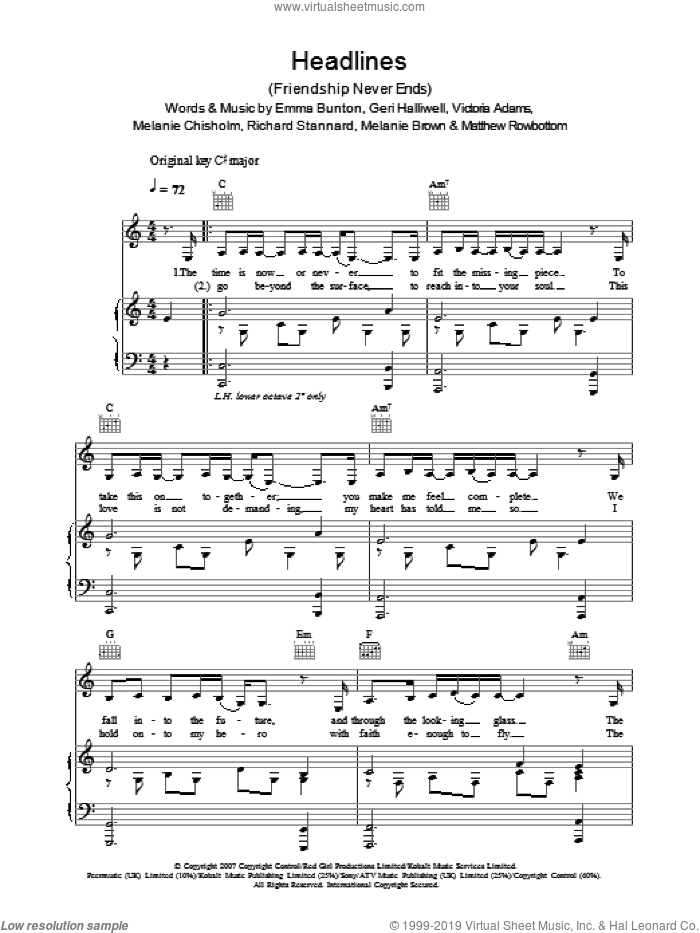 Headlines (Friendship Never Ends) sheet music for voice, piano or guitar by Emma Bunton
