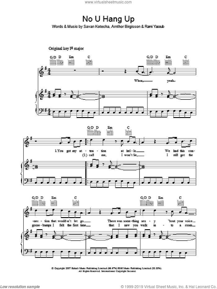 No U Hang Up sheet music for voice, piano or guitar by Arnthor Birgisson