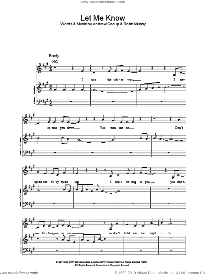 Let Me Know sheet music for voice, piano or guitar by Andrew Cocup and Roisin Murphy. Score Image Preview.