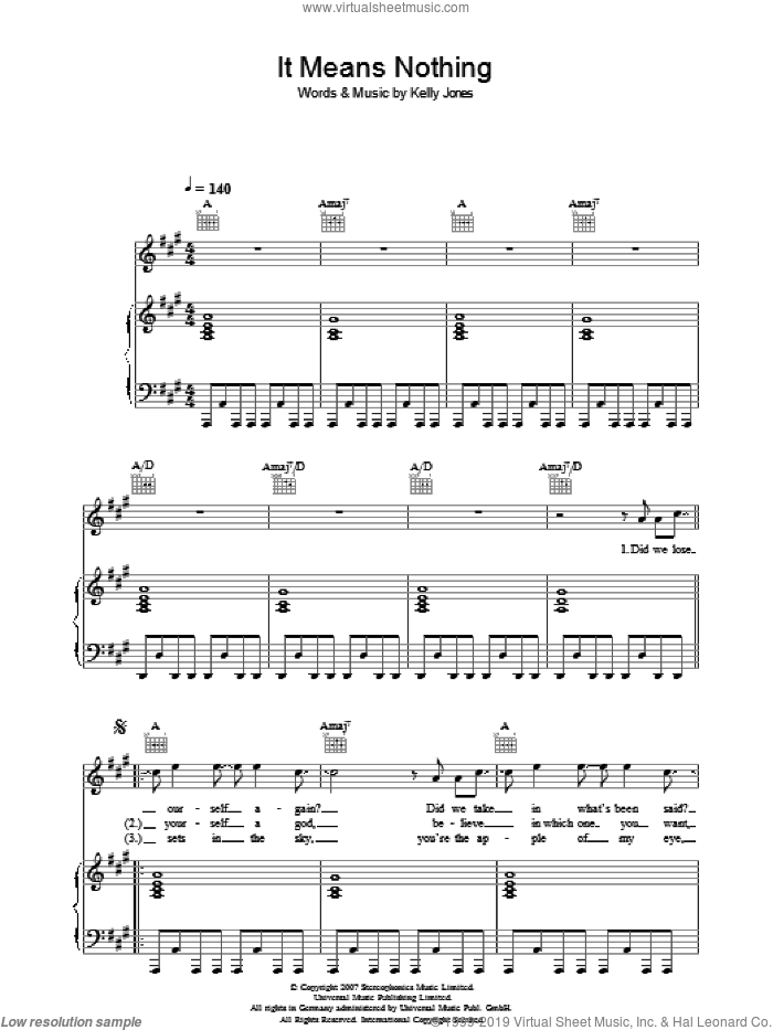 It Means Nothing sheet music for voice, piano or guitar by Stereophonics and Kelly Jones, intermediate