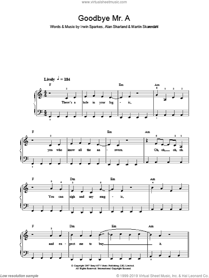 Goodbye Mr. A sheet music for piano solo by The Hoosiers. Score Image Preview.