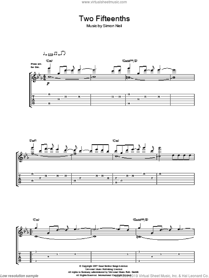 2/15ths (Two Fifteenths) sheet music for guitar (tablature) by Biffy Clyro and Simon Neil, intermediate skill level