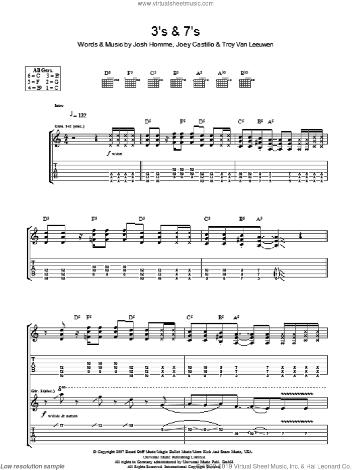 3's and 7's sheet music for guitar (tablature) by Queens Of The Stone Age, Joey Castillo, Josh Homme and Troy Van Leeuwen, intermediate skill level
