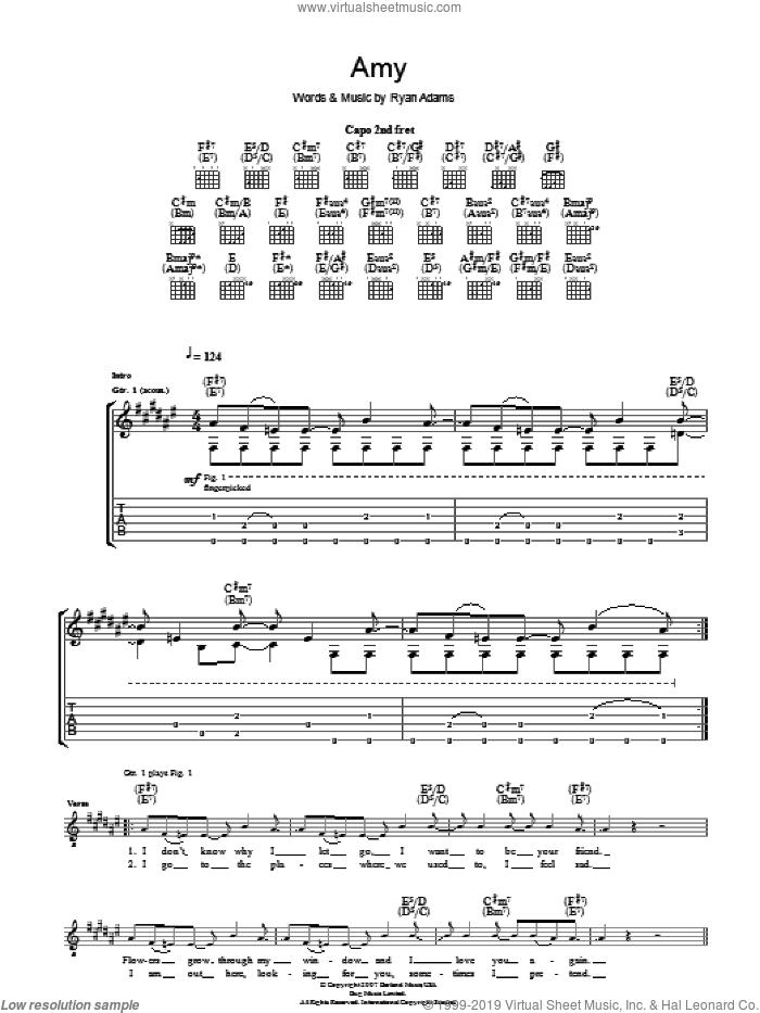 Amy sheet music for guitar (tablature) by Ryan Adams, intermediate