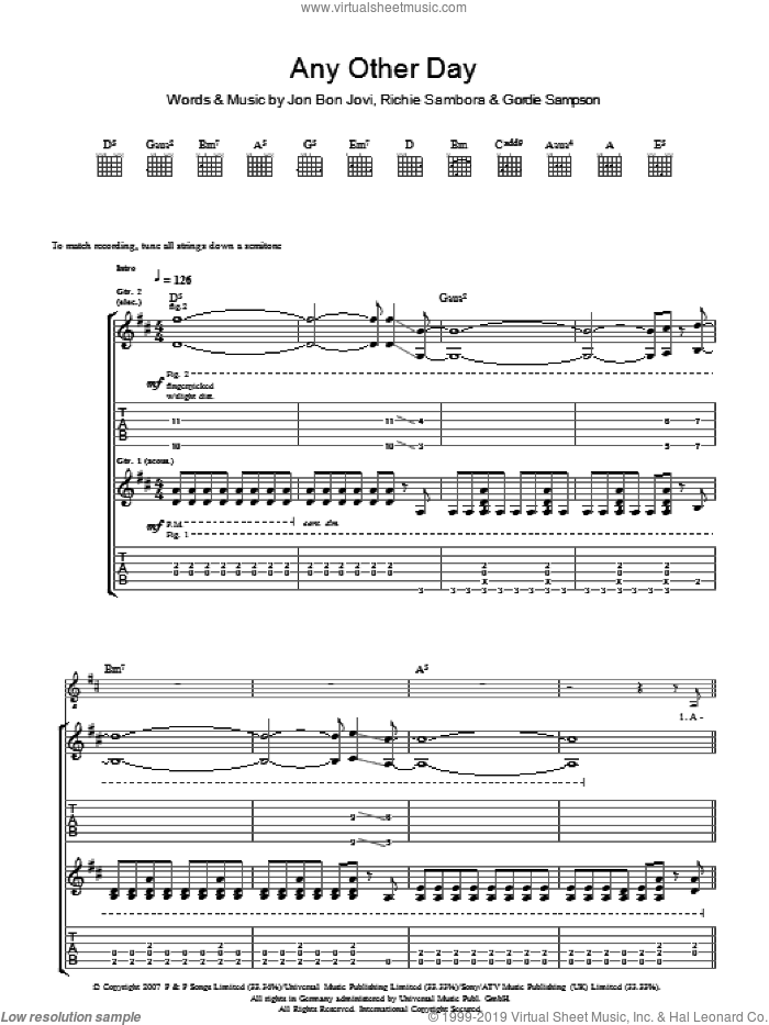 Any Other Day sheet music for guitar (tablature) by Gordie Sampson, Bon Jovi and Richie Sambora. Score Image Preview.