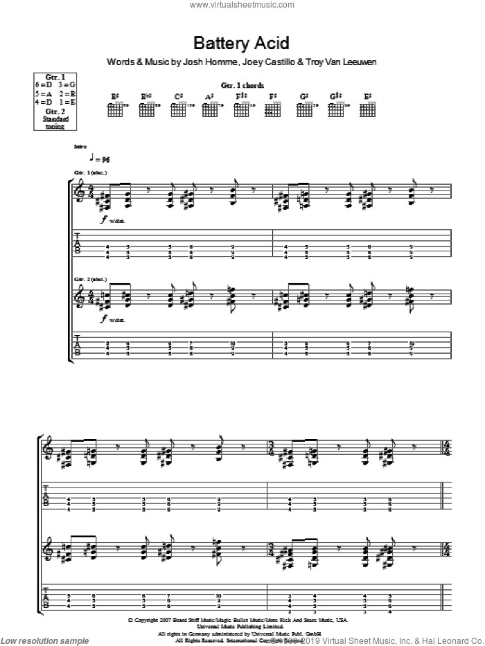 Battery Acid sheet music for guitar (tablature) by Joey Castillo, Queens Of The Stone Age, Josh Homme and Troy Van Leeuwen. Score Image Preview.