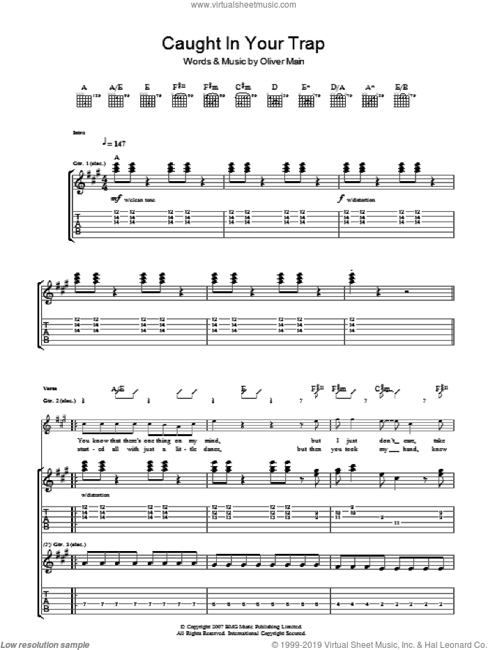 Caught In Your Trap sheet music for guitar (tablature) by The Pigeon Detectives and Oliver Main, intermediate skill level