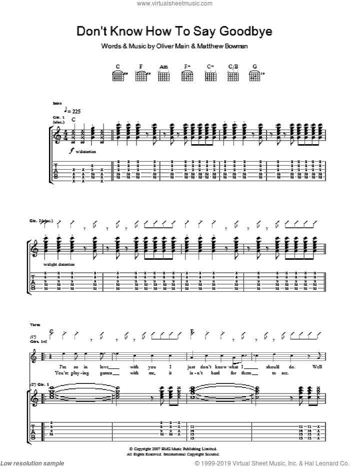 Don't Know How To Say Goodbye sheet music for guitar (tablature) by Matthew Bowman and Oliver Main. Score Image Preview.