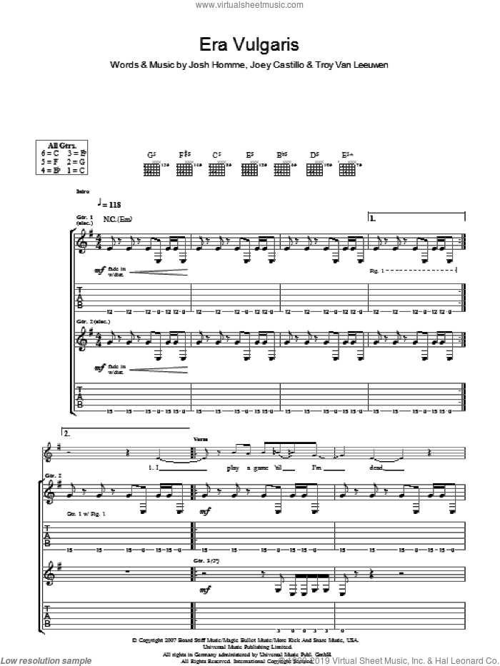 Era Vulgaris sheet music for guitar (tablature) by Joey Castillo