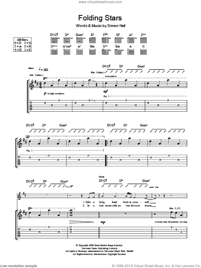 Folding Stars sheet music for guitar (tablature) by Simon Neil