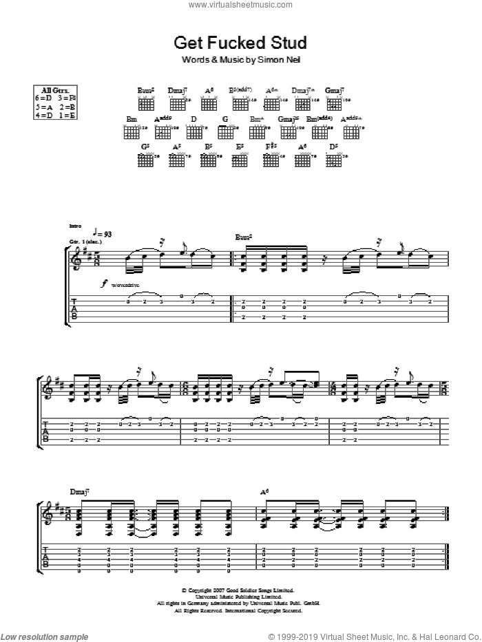 Get Fucked Stud sheet music for guitar (tablature) by Simon Neil. Score Image Preview.