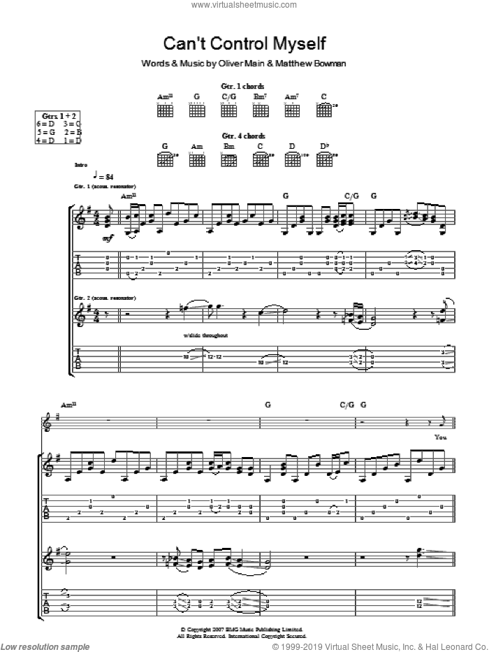 I Can't Control Myself sheet music for guitar (tablature) by Matthew Bowman and Oliver Main. Score Image Preview.