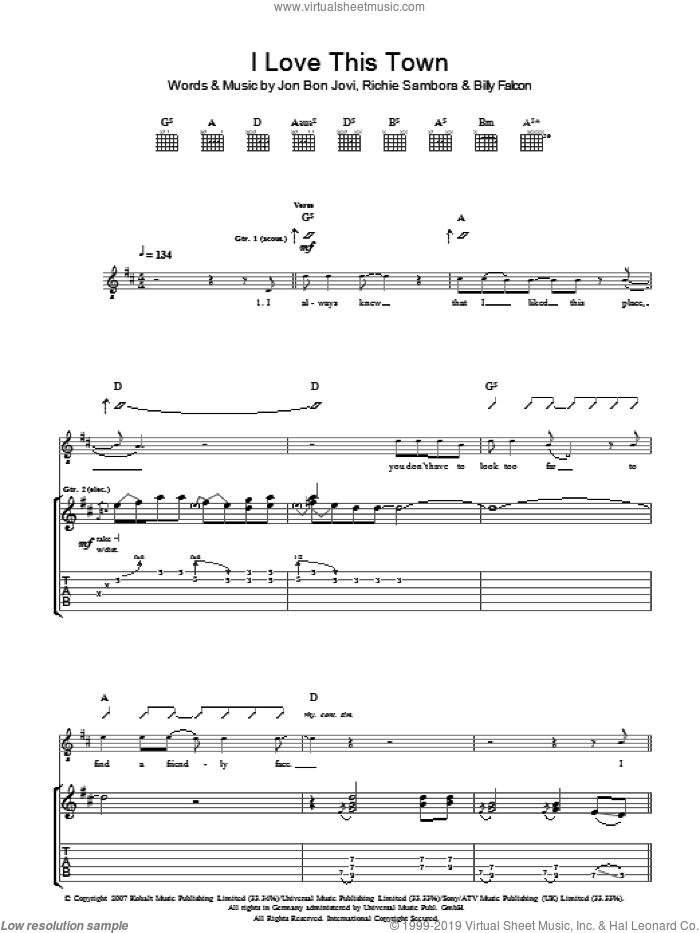 I Love This Town sheet music for guitar (tablature) by Bon Jovi and Richie Sambora, intermediate guitar (tablature). Score Image Preview.
