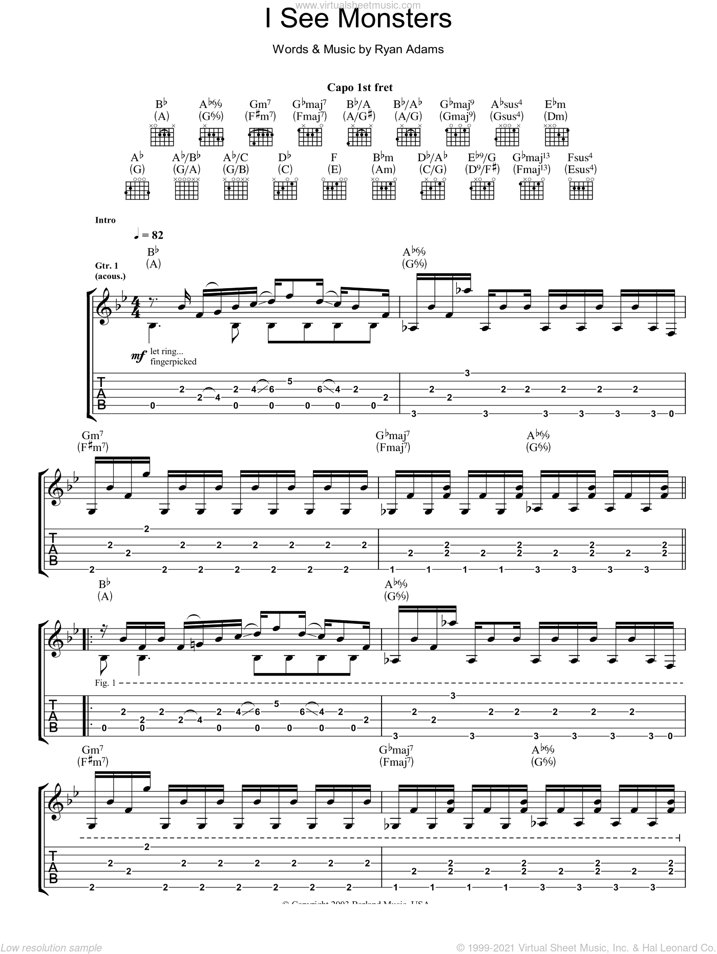 I See Monsters sheet music for guitar (tablature) by Ryan Adams. Score Image Preview.