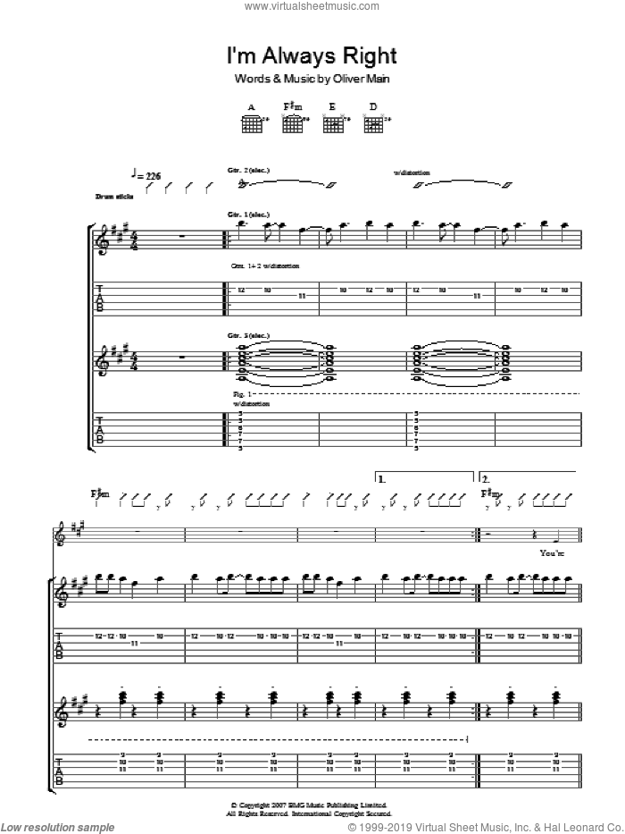 I'm Always Right sheet music for guitar (tablature) by The Pigeon Detectives and Oliver Main, intermediate. Score Image Preview.