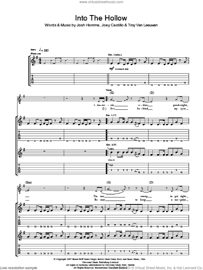 Into The Hollow sheet music for guitar (tablature) by Joey Castillo, Queens Of The Stone Age, Josh Homme and Troy Van Leeuwen. Score Image Preview.