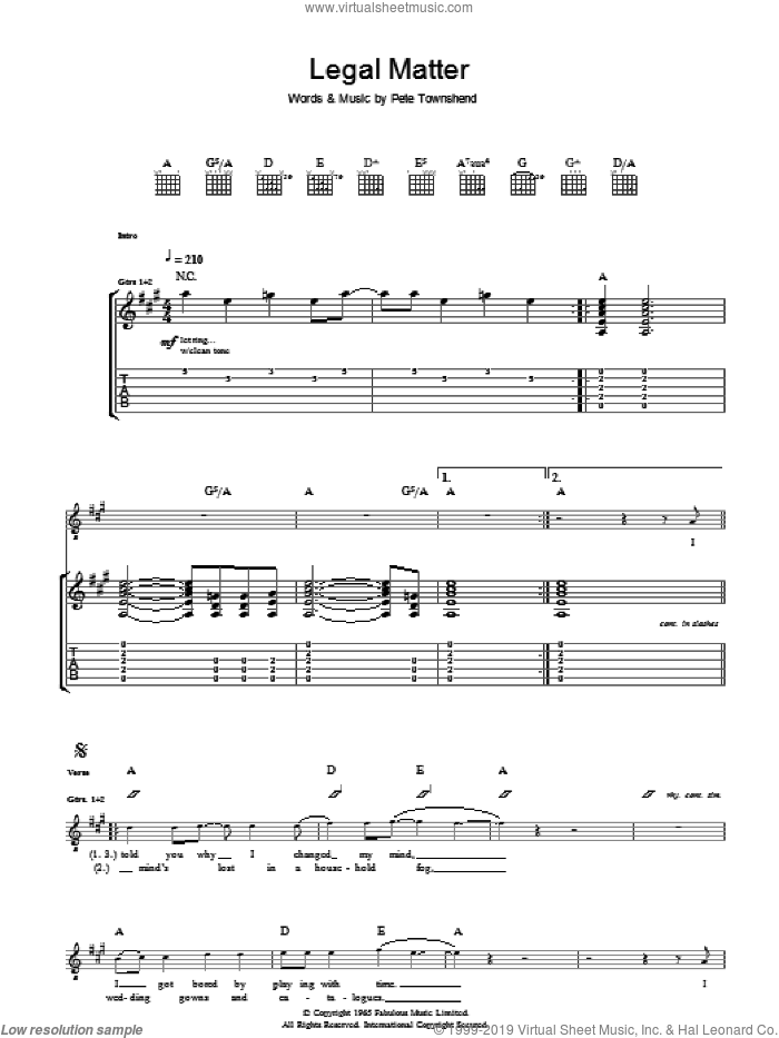 Legal Matter sheet music for guitar (tablature) by Pete Townshend and The Who. Score Image Preview.