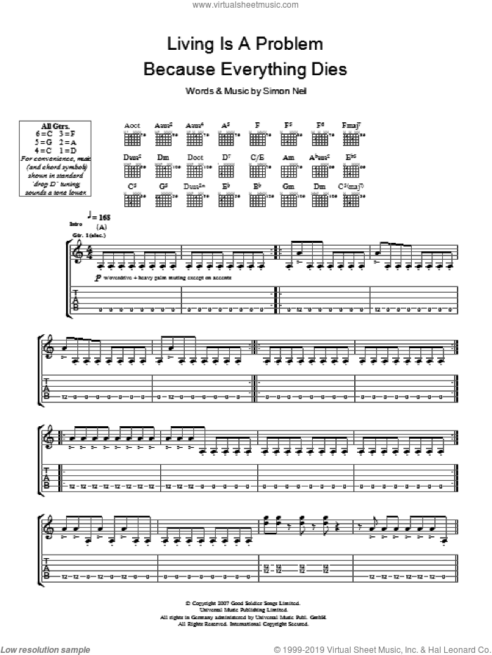 Living Is A Problem Because Everything Dies sheet music for guitar (tablature) by Biffy Clyro, intermediate. Score Image Preview.