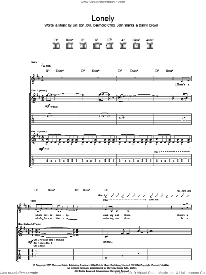 Lonely sheet music for guitar (tablature) by Darrell Brown