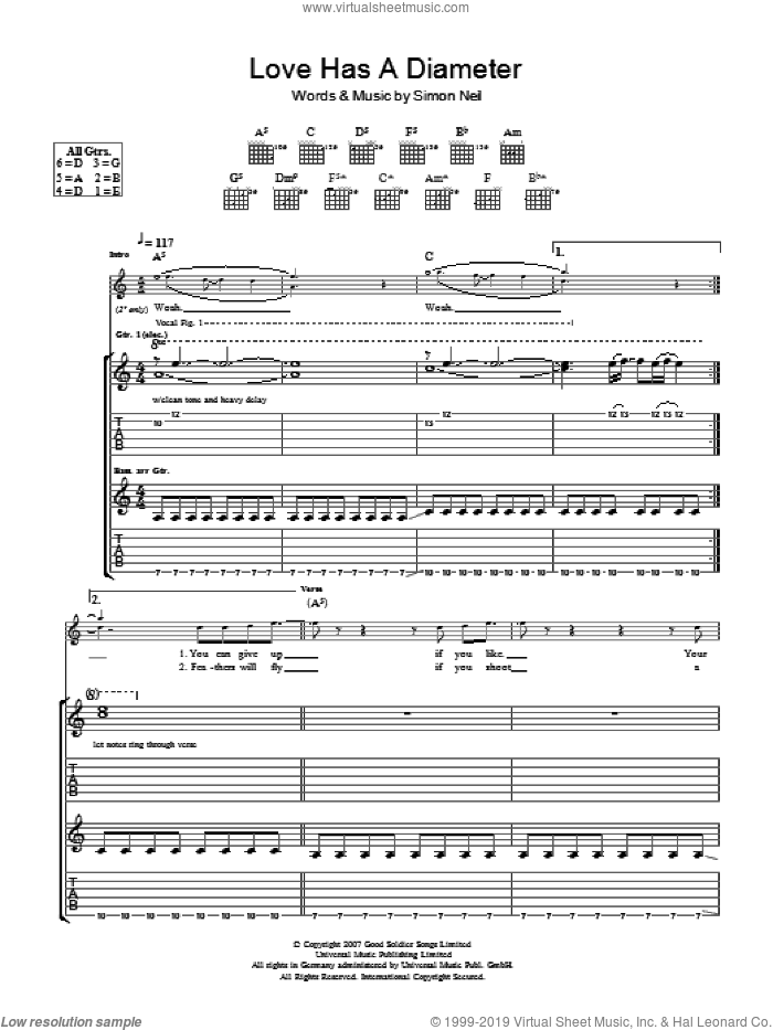 Love Has A Diameter sheet music for guitar (tablature) by Biffy Clyro and Simon Neil, intermediate skill level