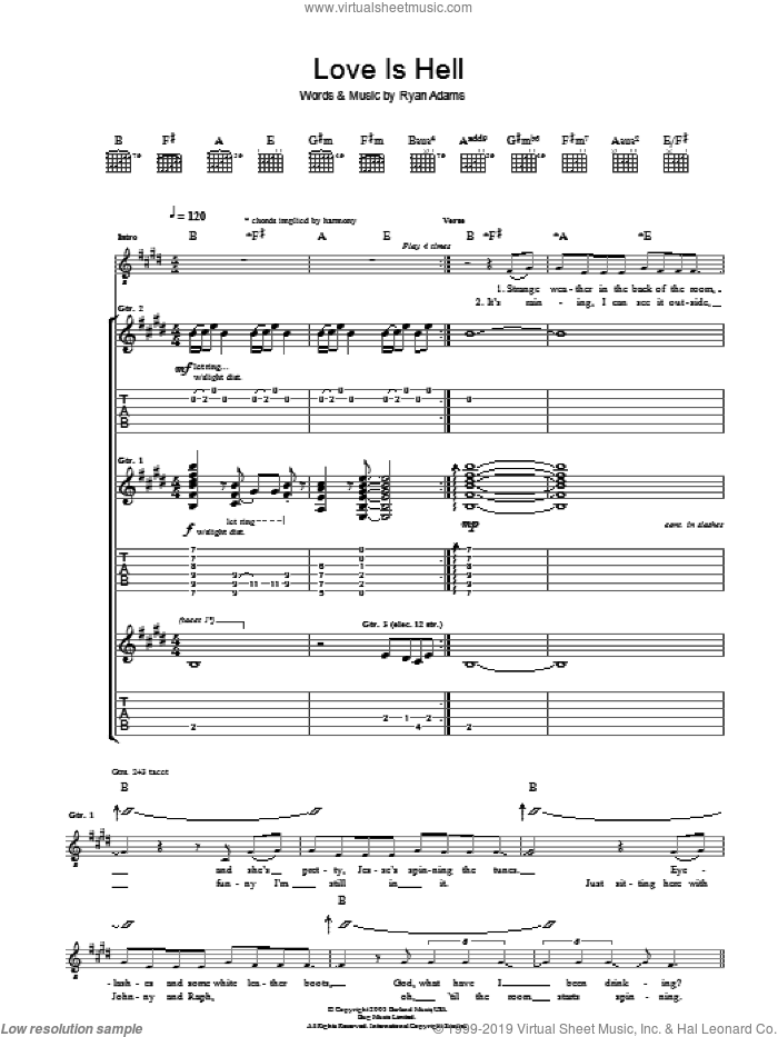 Love Is Hell sheet music for guitar (tablature) by Ryan Adams, intermediate. Score Image Preview.