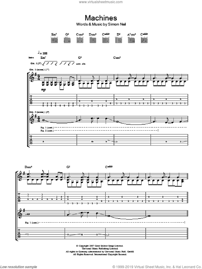 Machines sheet music for guitar (tablature) by Simon Neil. Score Image Preview.