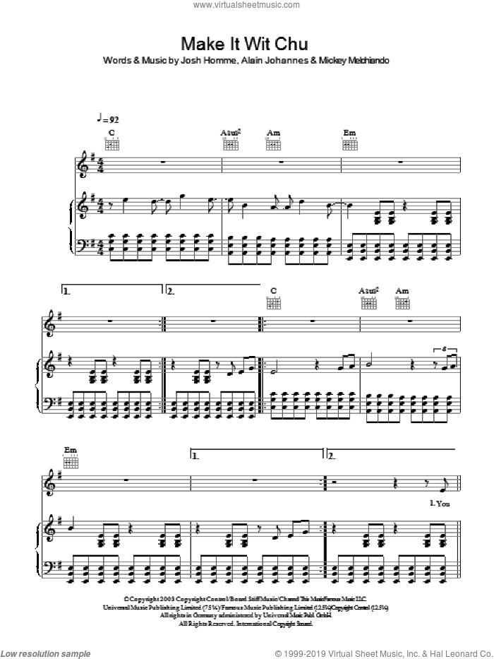 Make It Wit Chu sheet music for voice, piano or guitar by Alain Johannes