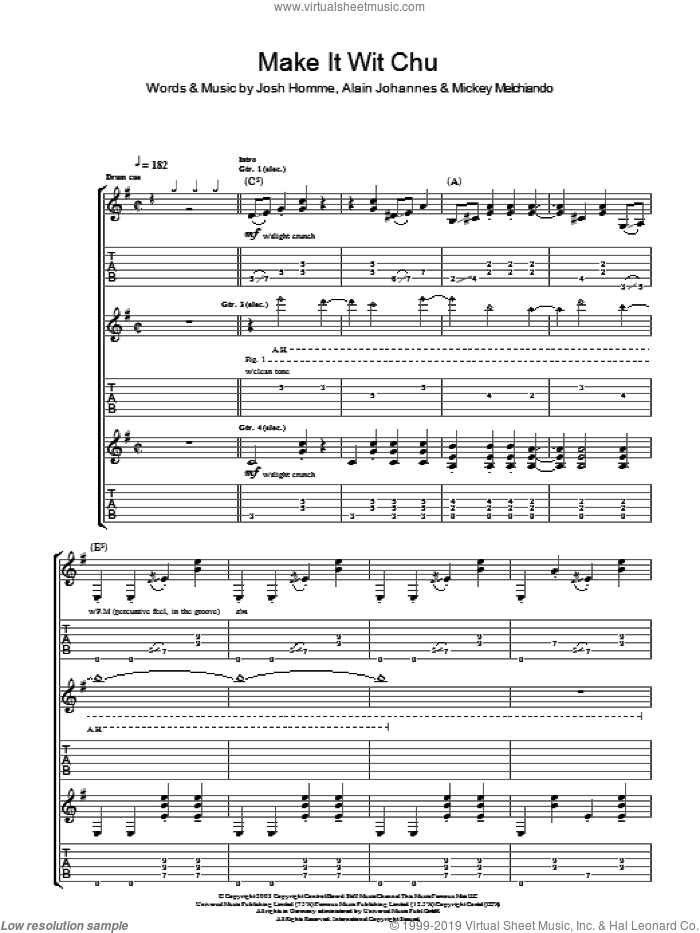 Make It Wit Chu sheet music for guitar (tablature) by Queens Of The Stone Age, Alain Johannes, Josh Homme and Mickey Melchiondo, intermediate skill level